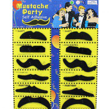 Halloween Self-Adhesive Mustache Cosplay Prop For Fancy Ball Party Show - BLACK BLACK