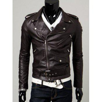 Belt Embellished Turn-Collar PU-Leather Epaulet Long Sleeve Men's Jacket