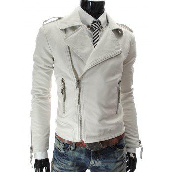 Zipper Stand Collar PU-Leather Epaulet Long Sleeve Men's Jacket