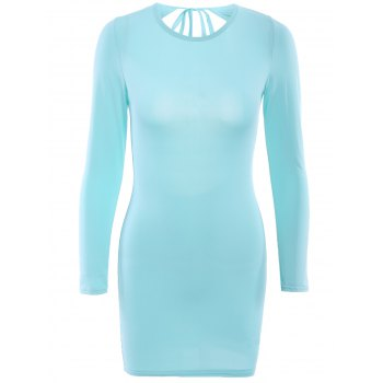Attractive Solid Color Long Sleeve Backless Sheath Dress For Women