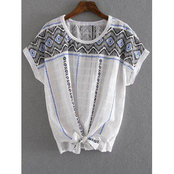 Stylish Round Neck Short Sleeve Bowknot Geometric Print Women's T-Shirt