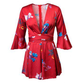 Stylish Plunging Neck Flare Sleeve Floral Print Romper For Women