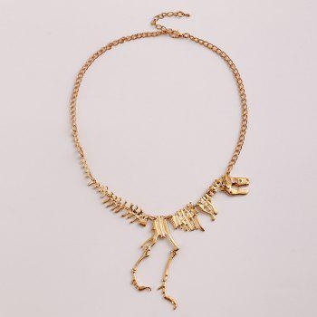 Dinosaur Skeleton Alloy Necklace - GOLDEN