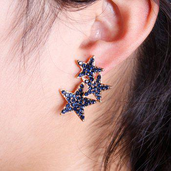 Pair of Noble Rhinestoned Pentagram Earrings For Women - BLUE