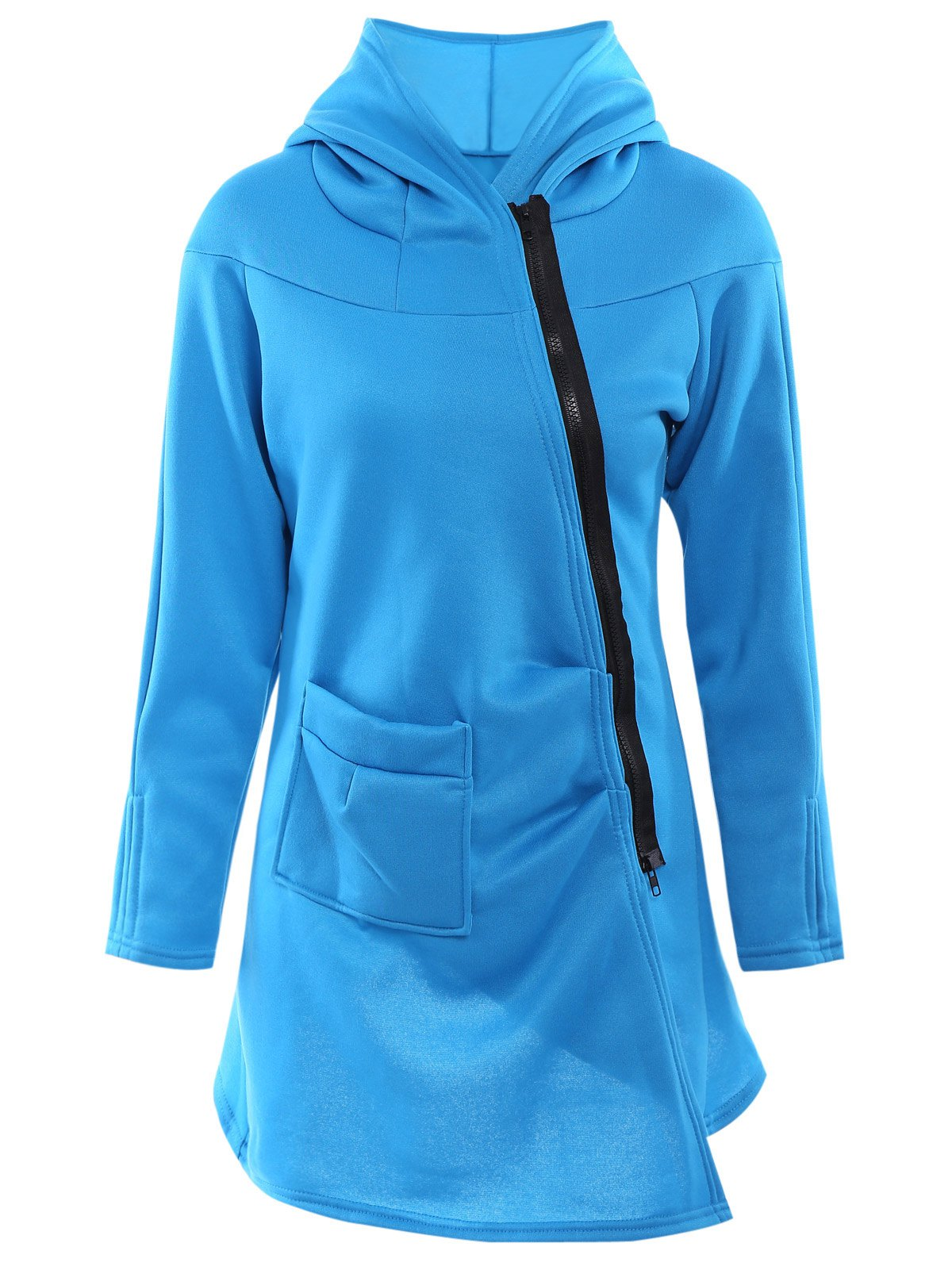 Stylish Hooded Long Sleeve Asymmetrical Loose-Fitting Women's Hoodie - BLUE S