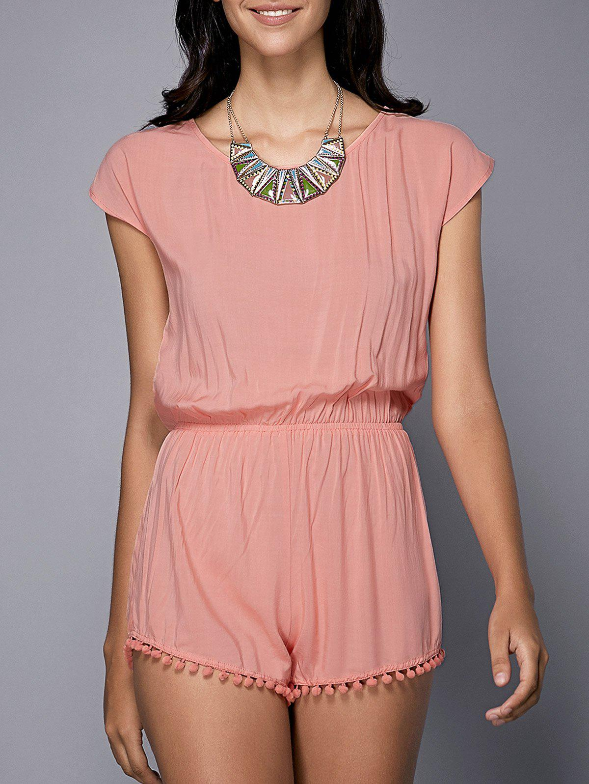 Stylish Women's Short Sleeve Scoop Neck Self-Tie Romper - PINK S