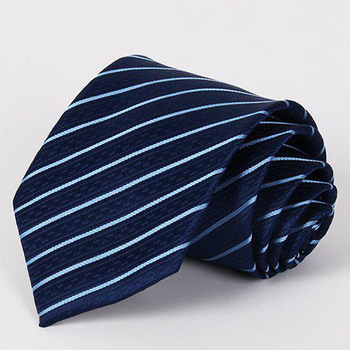 Stylish Slender Twill Jacquard Men's Navy Blue Tie