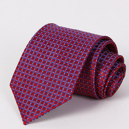 Stylish Checkered Mesh Jacquard Men's Wine Red Tie - WINE RED