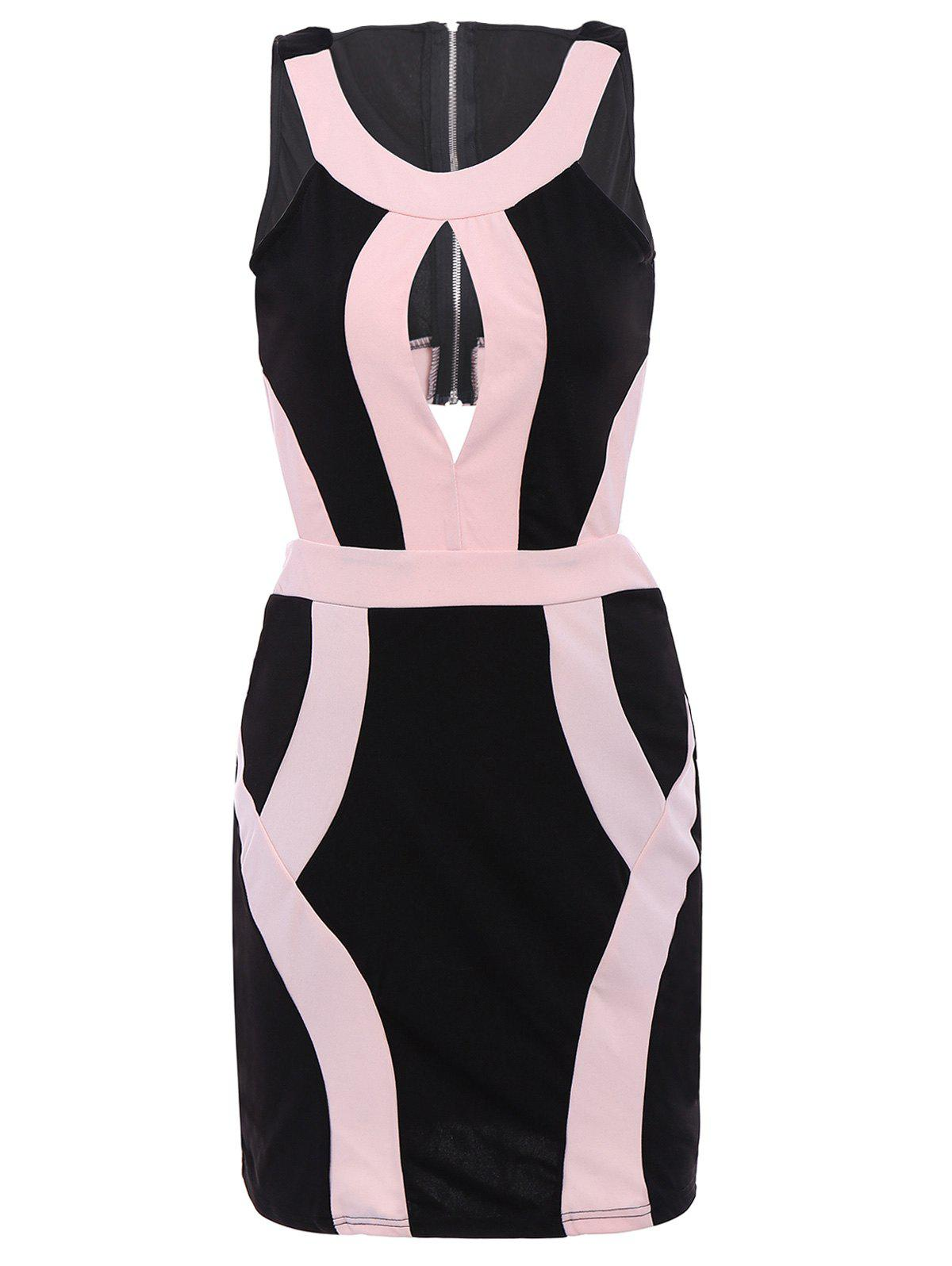 Alluring Women's Scoop Neck Sleeveless Hollow Out Color Block Dress - BLACK/PINK S
