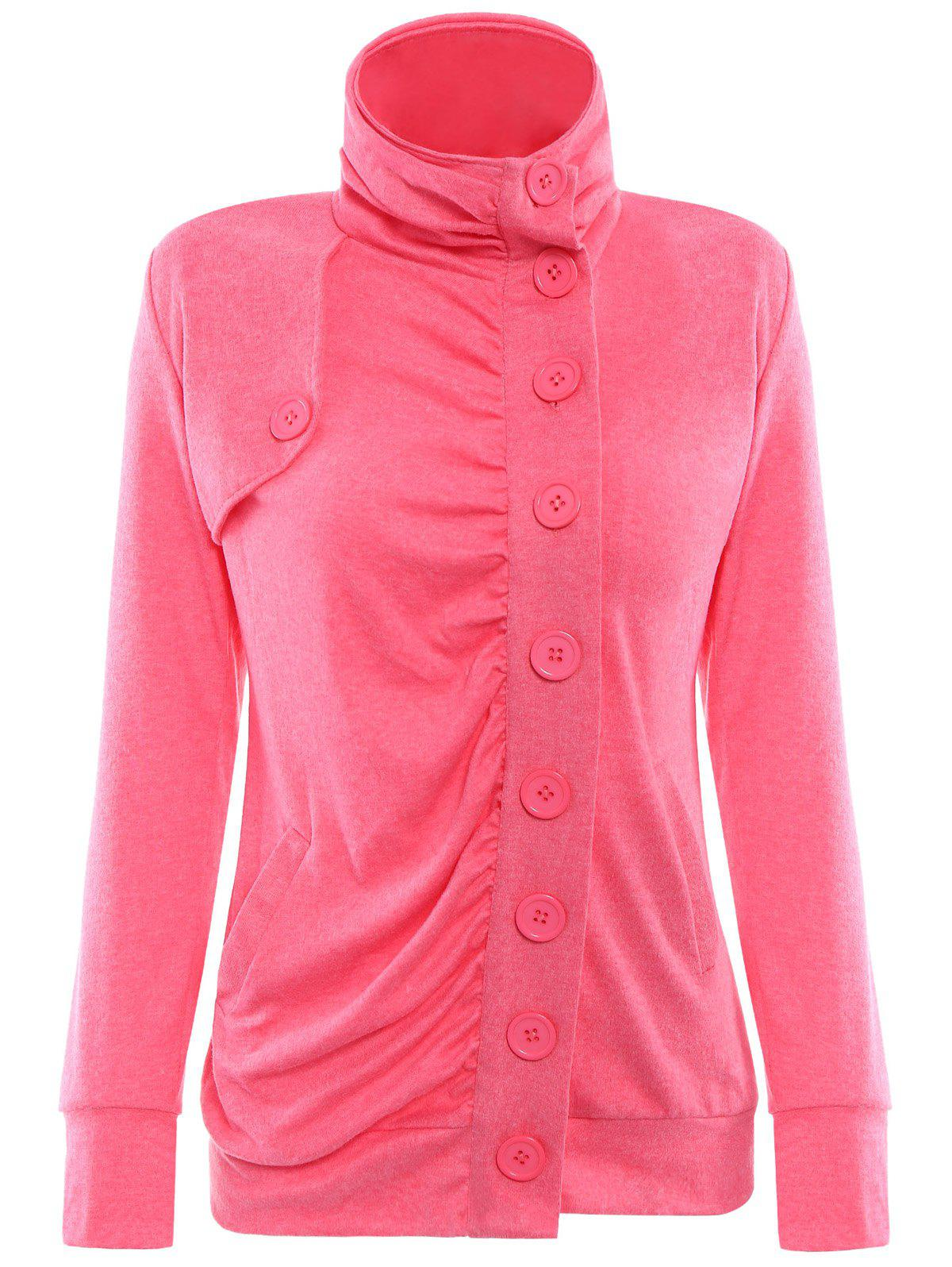 Chic Stand-Up Collar Long Sleeve Single Breasted Jacket For Women - RED M