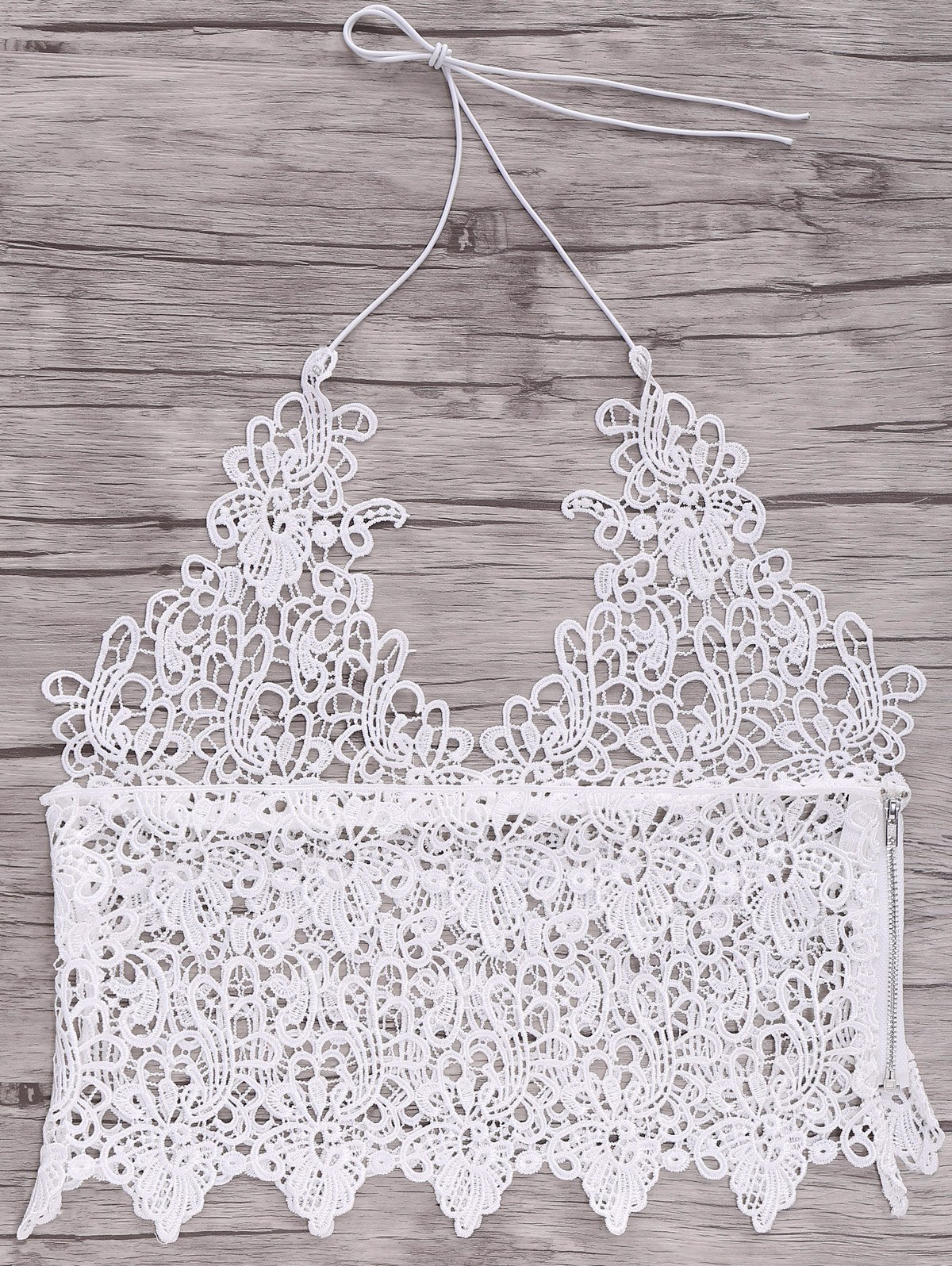 Simple Style Halter Laced Crop Top For Women - WHITE S