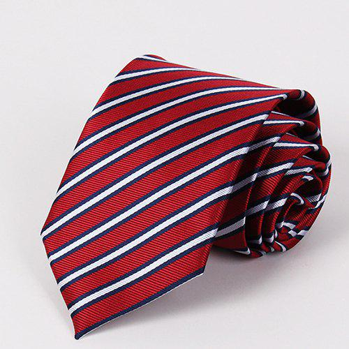 Stylish Bicolor Twill Jacquard Men's Red Tie - RED