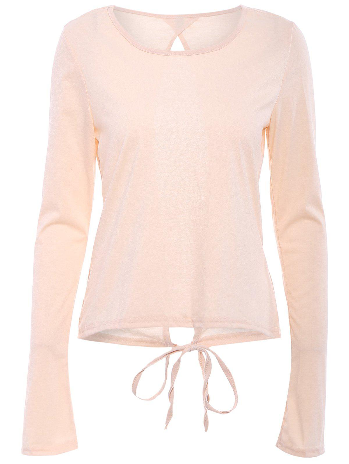 Chic Scoop Neck Long Sleeve Cut Out Pure Color Women's T-Shirt - APRICOT S
