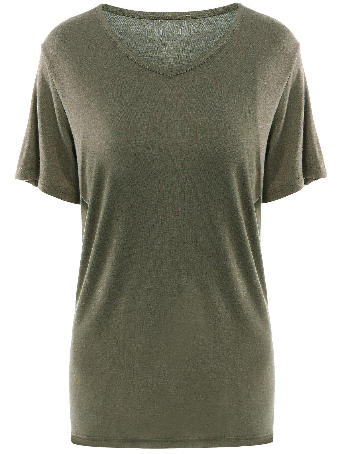 Simple Short Sleeves V Neck Pure Color T-Shirt For WomenWomen<br><br><br>Size: XL<br>Color: ARMY GREEN