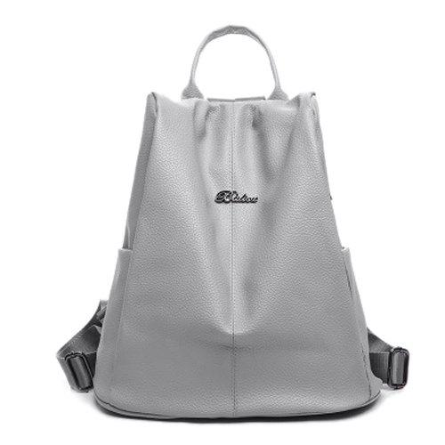 Simple Letter and Solid Color Design Women's Satchel - LIGHT GRAY