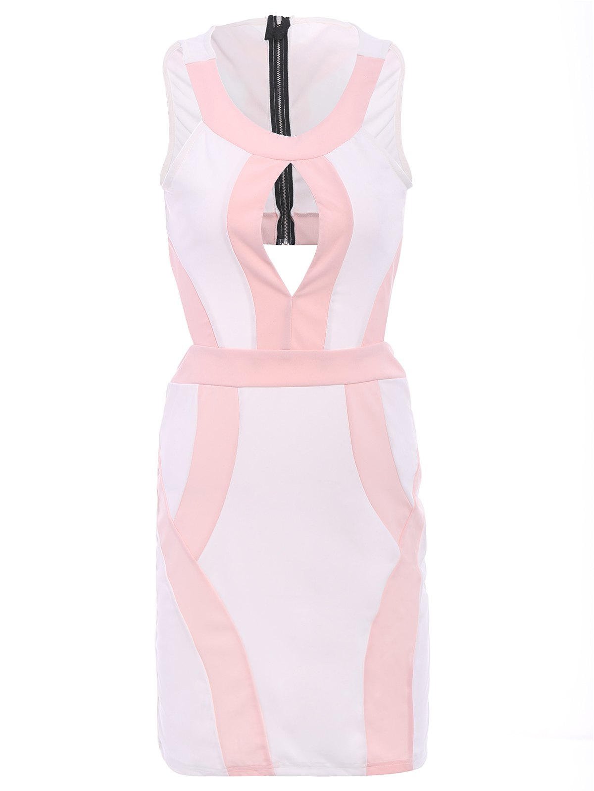 Alluring Women's Scoop Neck Sleeveless Hollow Out Color Block Dress - PINK M