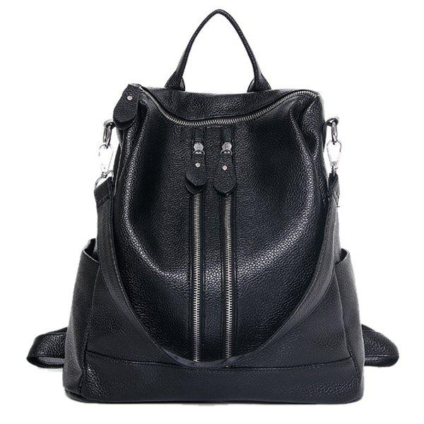 цены  Casual Zips and PU Leather Design Women's Satchel