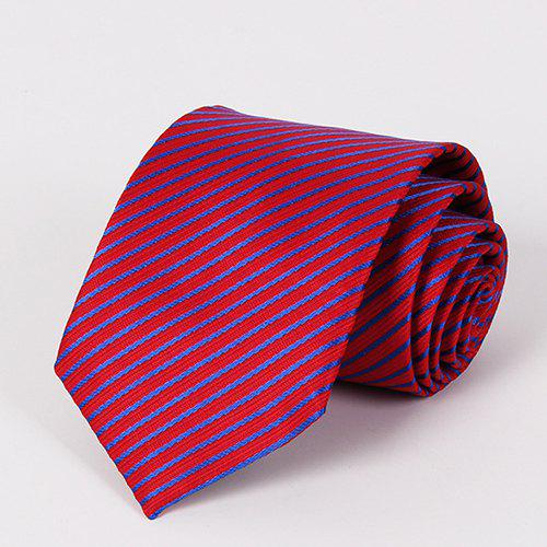 Stylish Blue Twill Jacquard Men's Red Tie - RED