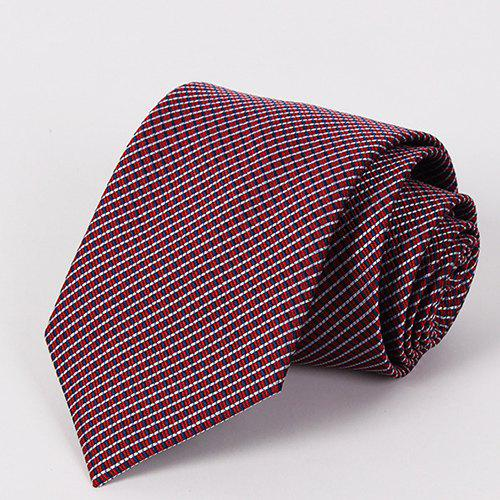 Stylish Cross Over Stripe Jacquard Men's Wine Red Tie - WINE RED