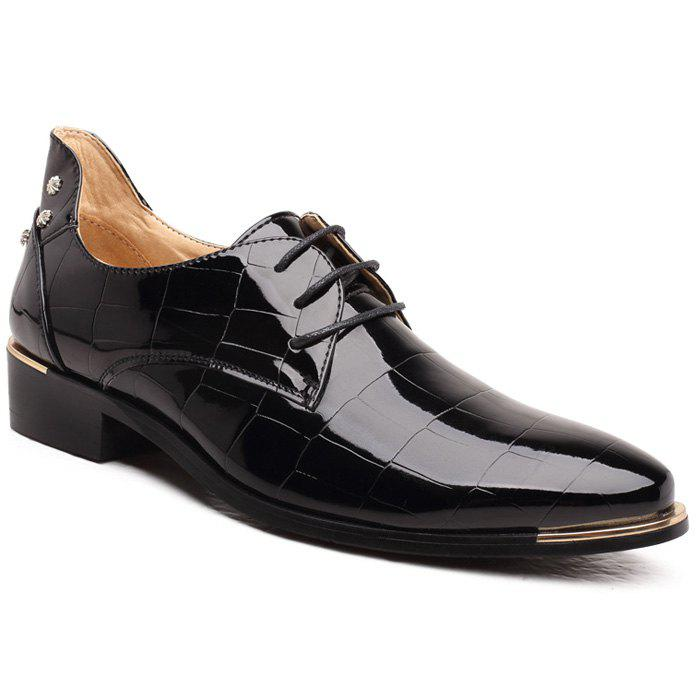 Stylish Men's Formal Shoes With Rivet and Embossing Design - BLACK 43