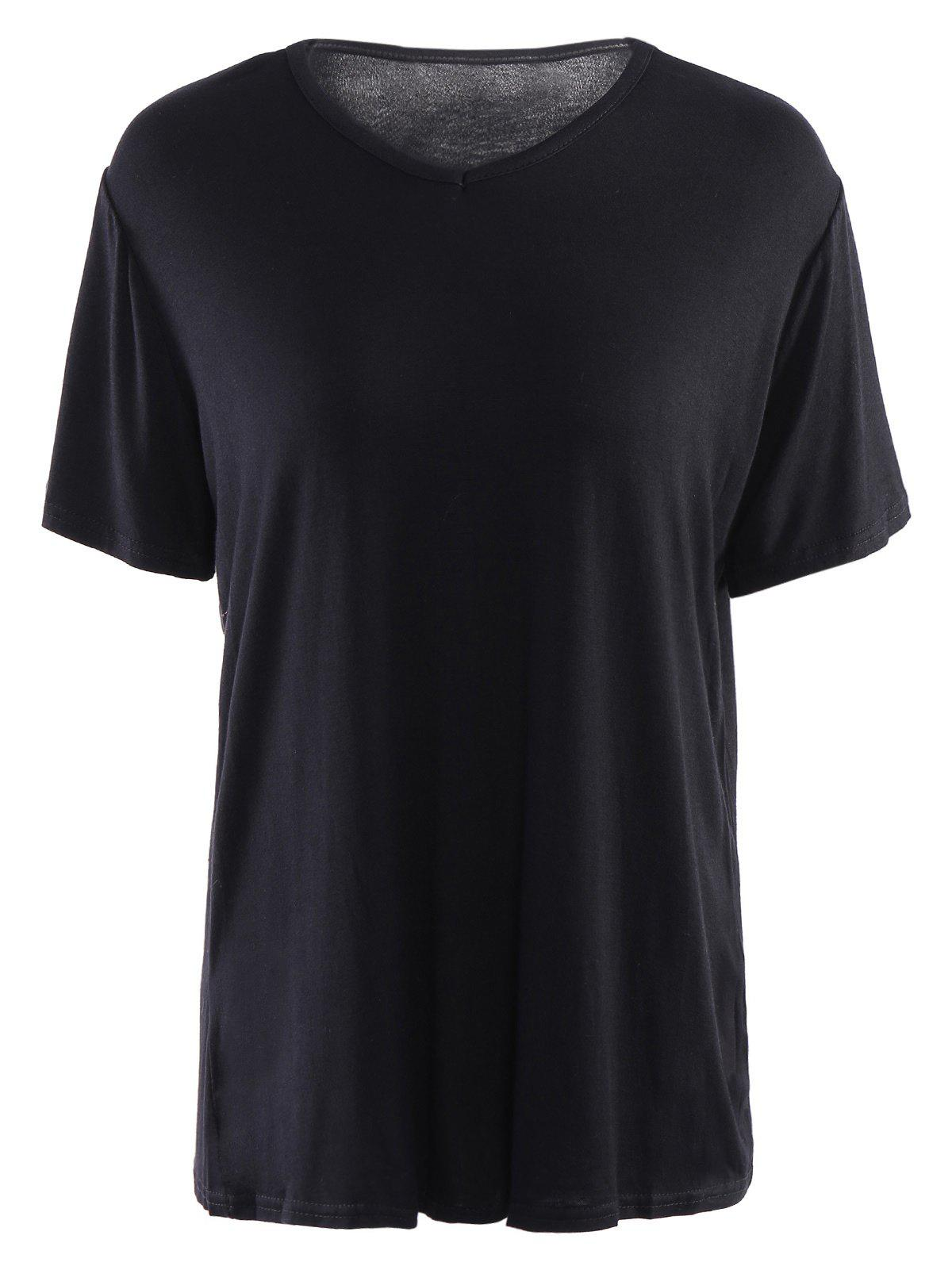 Simple Short Sleeves V Neck Pure Color T-Shirt For Women - BLACK 2XL