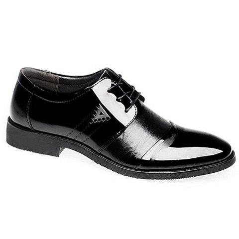 Trendy Black and Patent Leather Design Men's Formal Shoes - BLACK 43