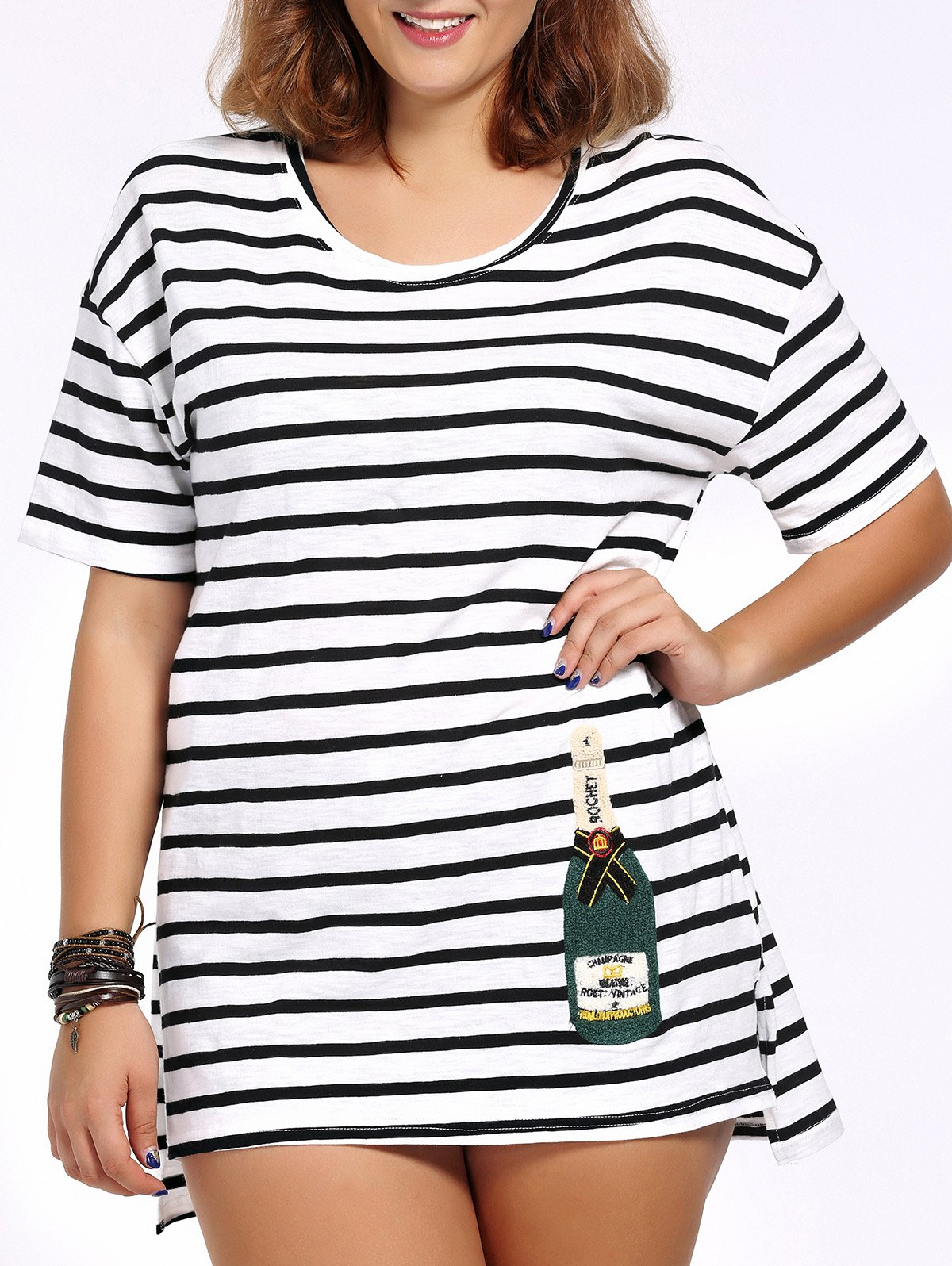 Chic Plus Size High-Low Hem Striped Women's Long T-Shirt - WHITE/BLACK 4XL