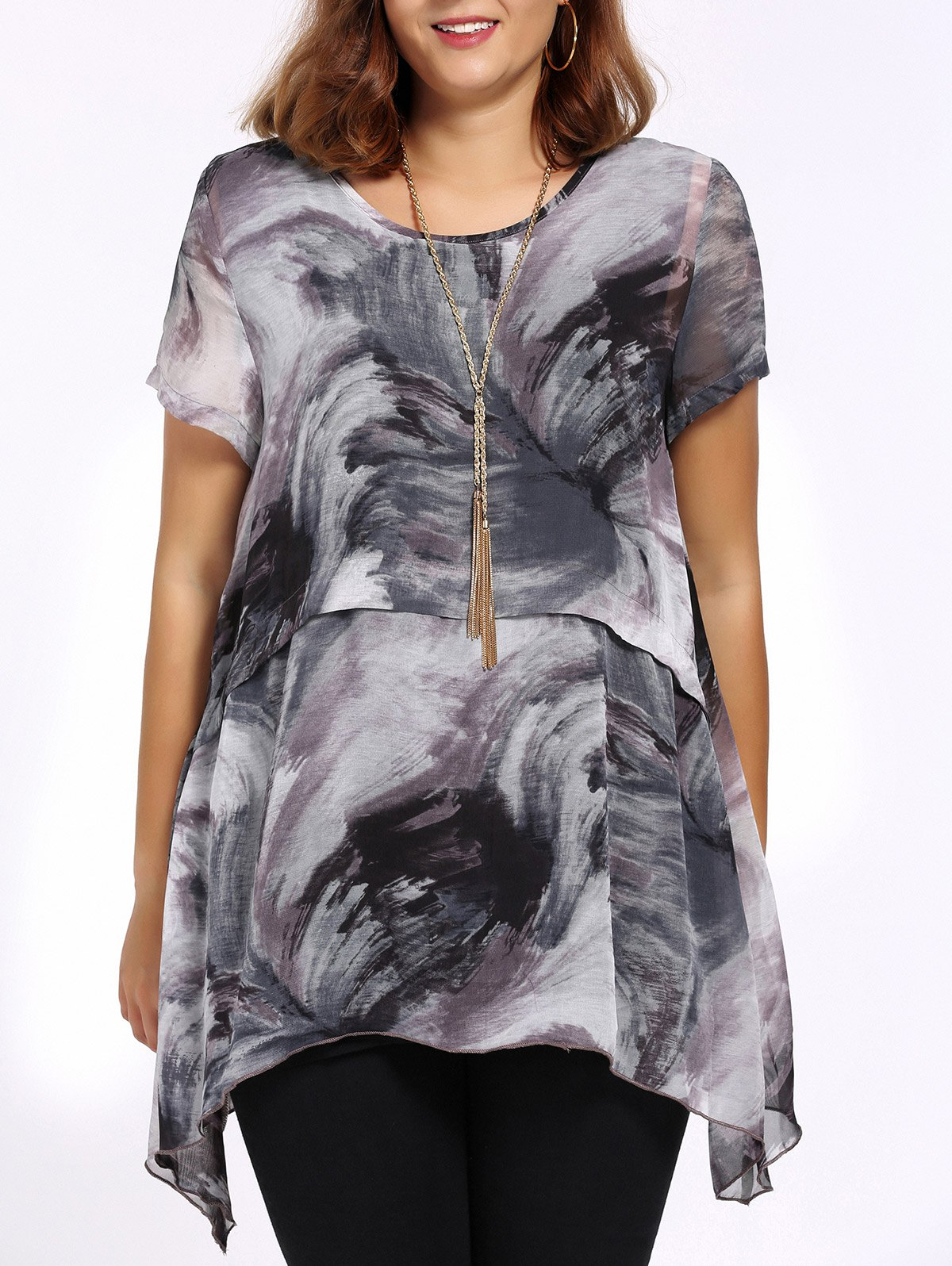 Chic Plus Size Printed Asymmetric Women's Blouse - GRAY 4XL