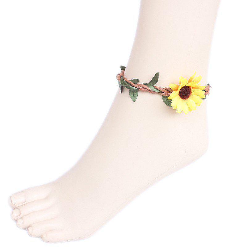 Faux Flower Leaf Branch Girl Beach Anklets - YELLOW