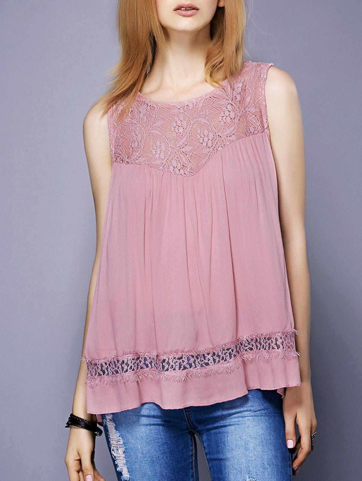 Sweet Women's Round Neck Lace Spliced Slit Tank Top - PINK L