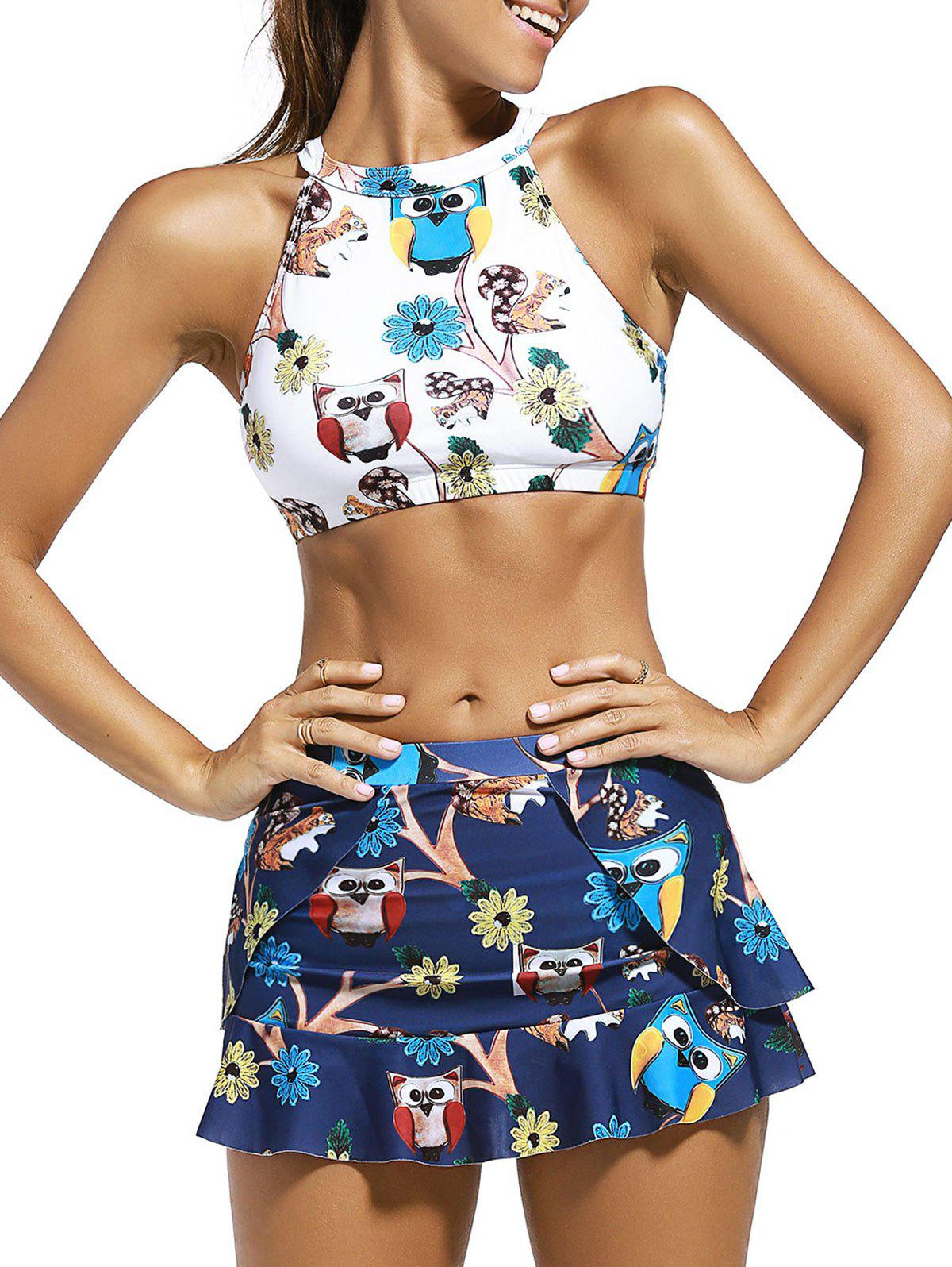 Cute Womens High Neck Cartoon Owl Print Crop Top + Skirt + Briefs Three-Piece SwimsuitWomen<br><br><br>Size: XL<br>Color: WHITE