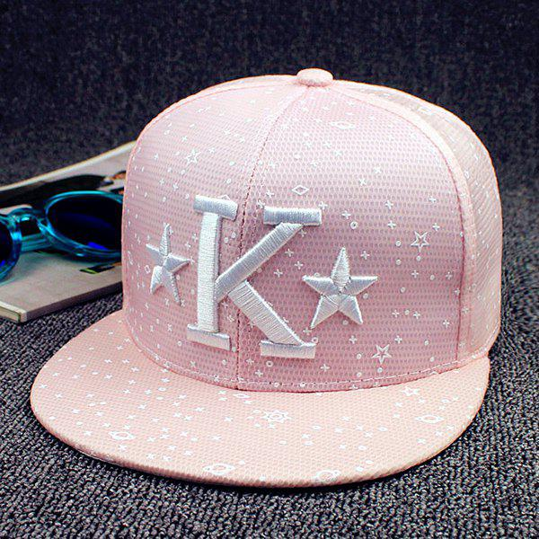 Fashion Letter K Star Galaxy Shape Embroidery Macarons Color Baseball Cap - SHALLOW PINK