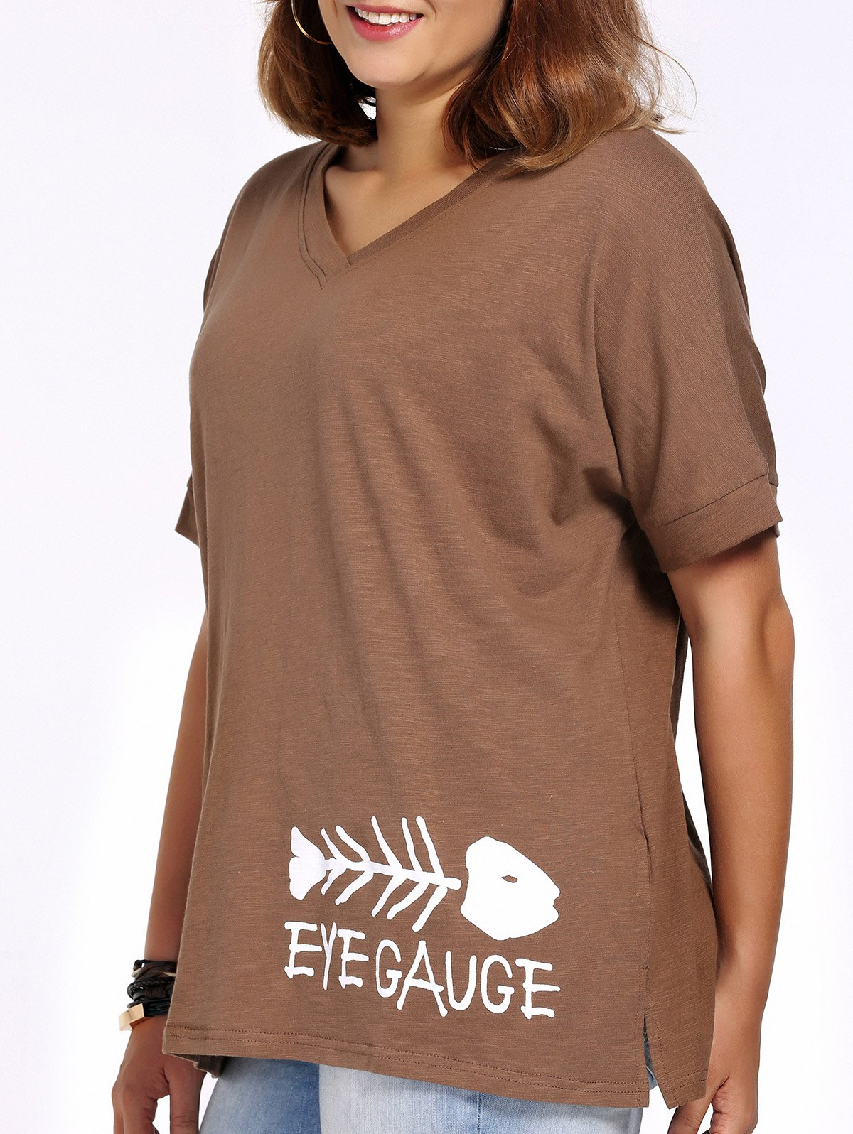 Casual Plus Size Cut Out V Neck Fishbone Print Women's T-Shirt - COFFEE XL