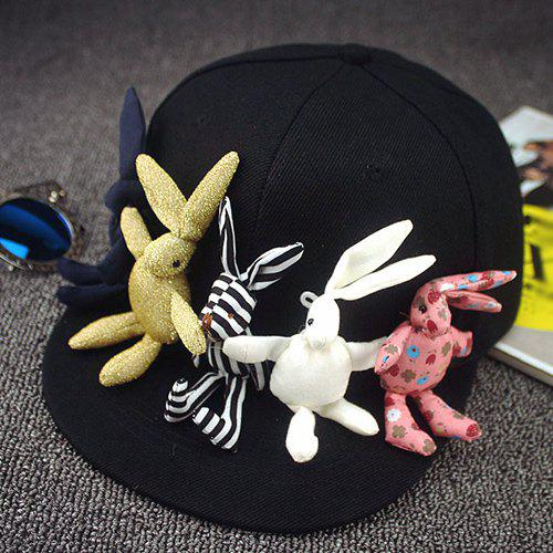 Chic Cartoon Rabbits Shape Toy Embellished Women's Black Baseball Cap