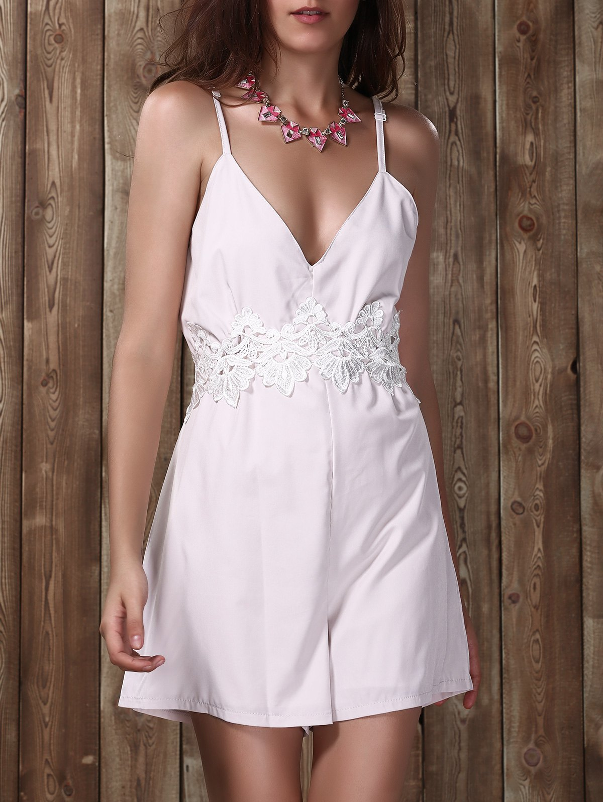 Backless Lace Insert Cami Romper - OFF WHITE L