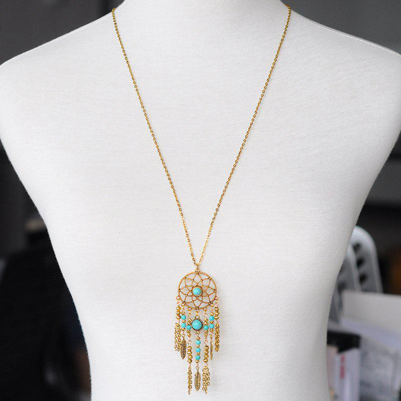 Faux Turquoise Feather Bead Fringed Pendant Necklace - GOLDEN