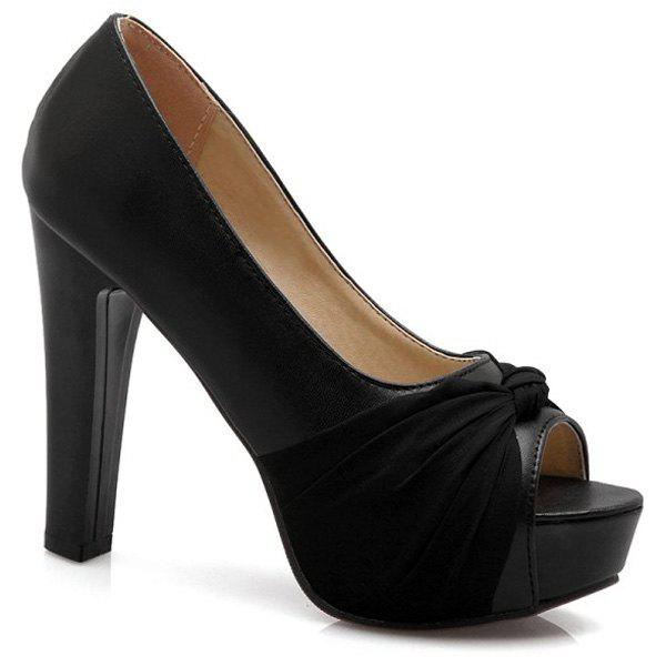 Fashionable Platform and Solid Colour Design Women's Peep Toe Shoes - BLACK 39