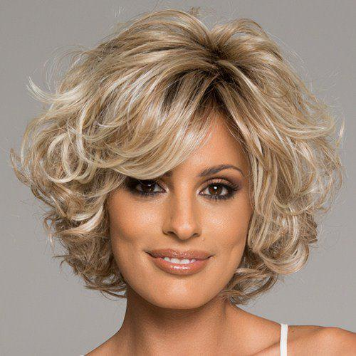 Women's Stylish Side Bang Curly Human Hair Wig - COLORMIX