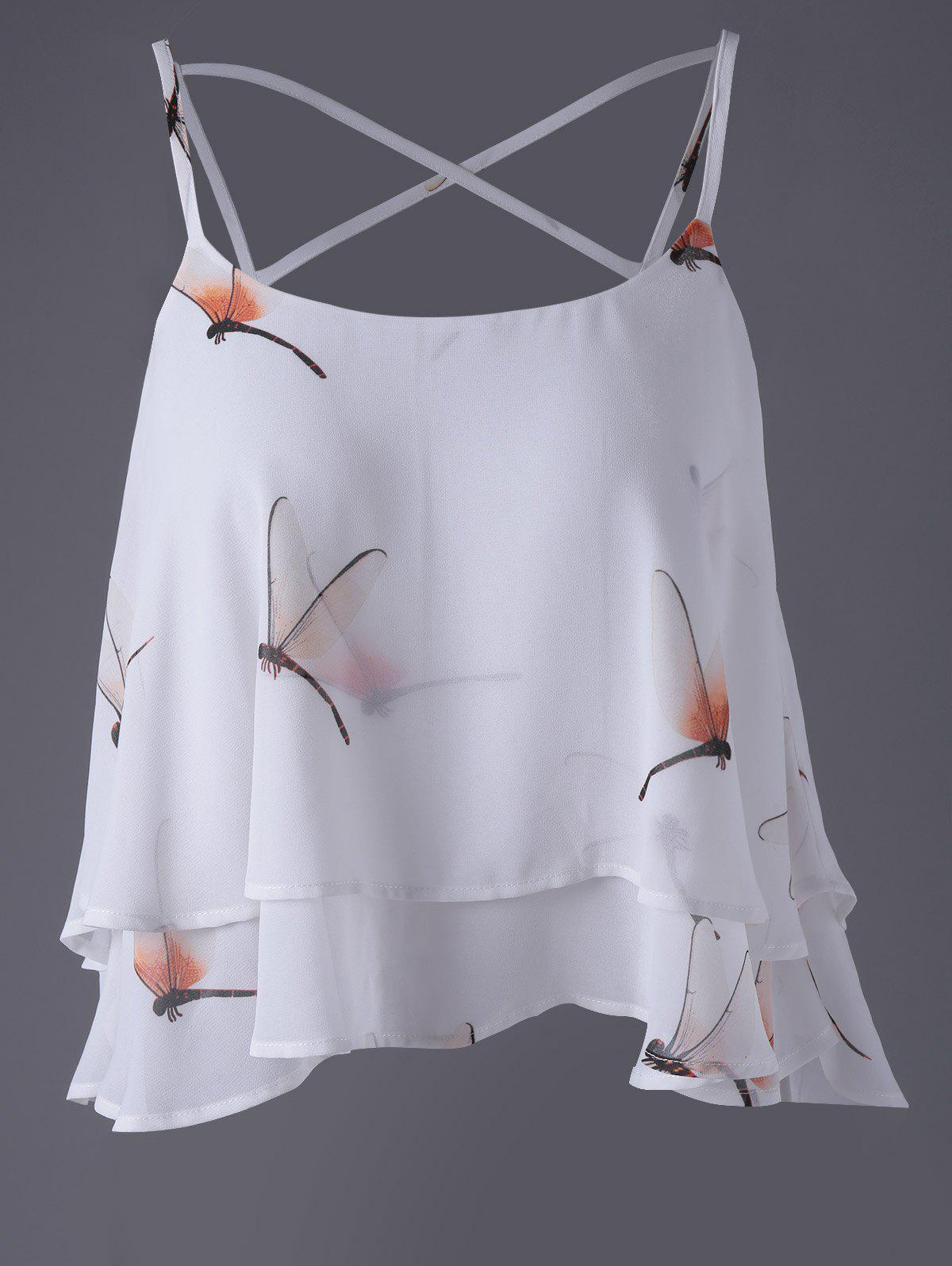 Trendy Spaghetti Strap Dragonfly Print Ruffle Tank Top For Women - WHITE XL
