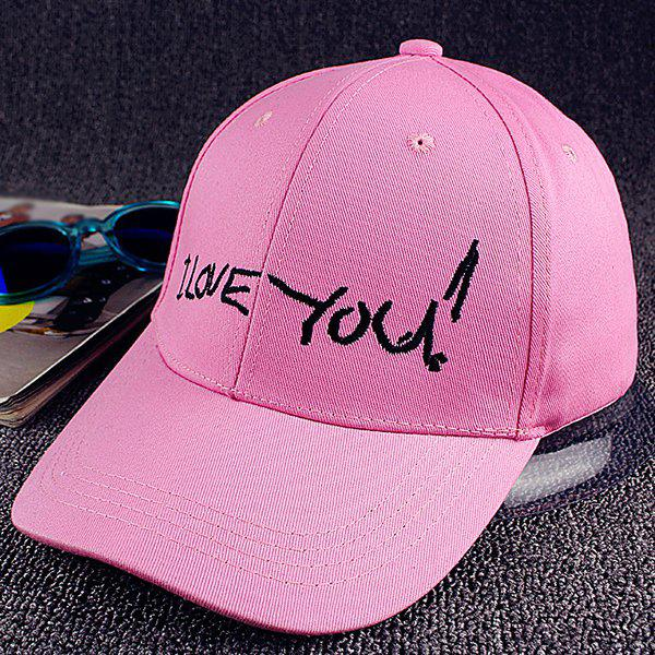 Stylish Love Declaration Embroideried Sunscreen Baseball Cap - PINK