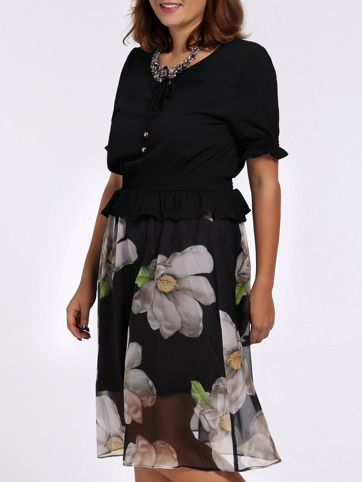 Chic Plus Size Flounced Jasmine Flower Print Women's Dress - BLACK 4XL