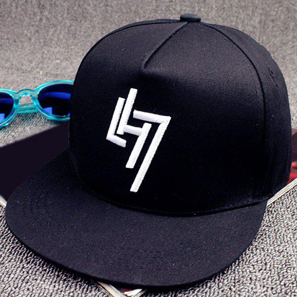 Stylish Letters and Number Embroideried Street Hip Hop Baseball Cap - BLACK