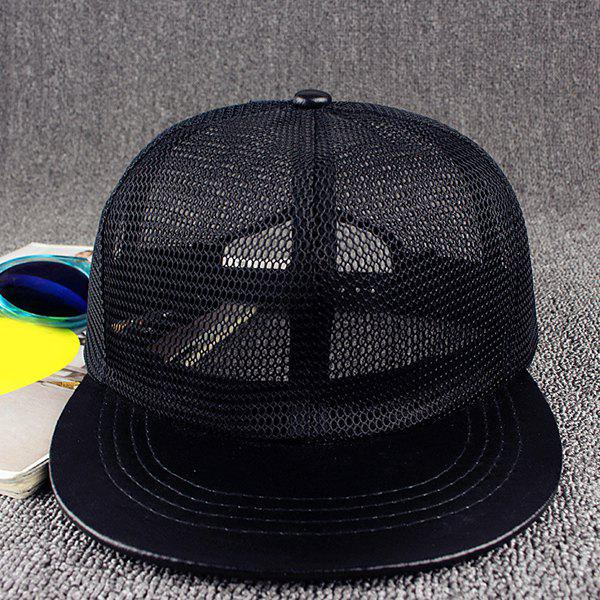 Stylish Solid Color Breathable Mesh Street Hip Hop Baseball Cap - BLACK