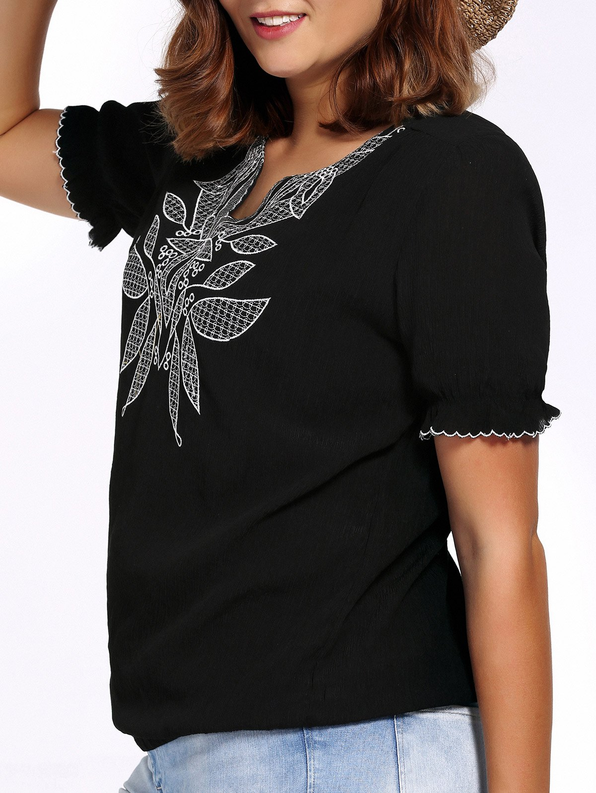 Chic Plus Size Flower Embroidered V Neck Women's Blouse - BLACK 2XL
