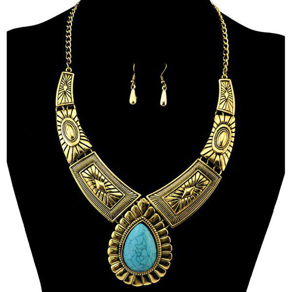 A Suit of Faux Turquoise Engraving Water Drop Necklace and Earrings - GOLDEN