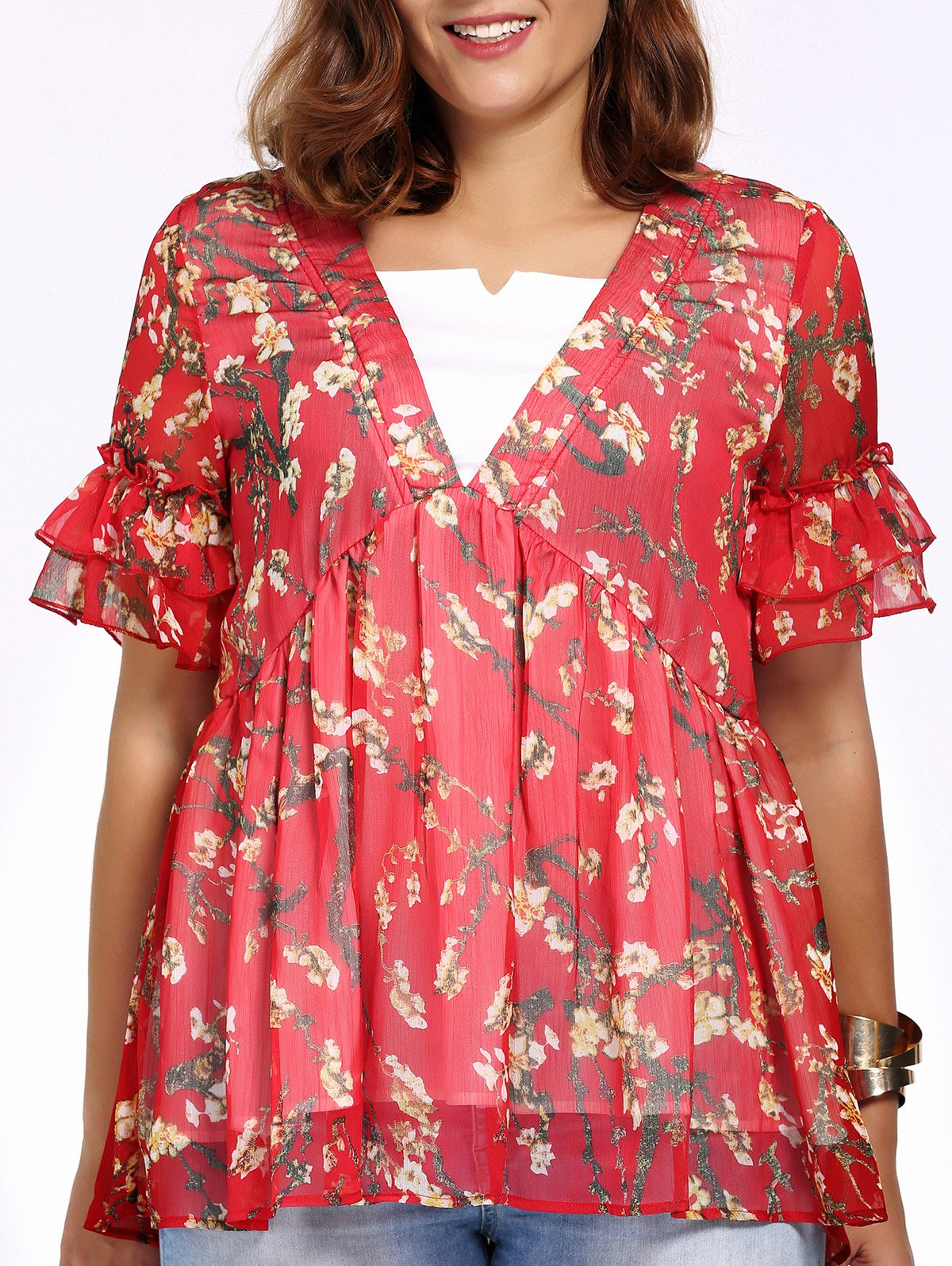 Sweet Plus Size Floral Print V Neck Faux Twinset Women's Blouse - RED 4XL