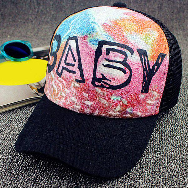 Chic Letter and Colorful Tie-Dyed Pattern Women's Baseball Cap - BLACK