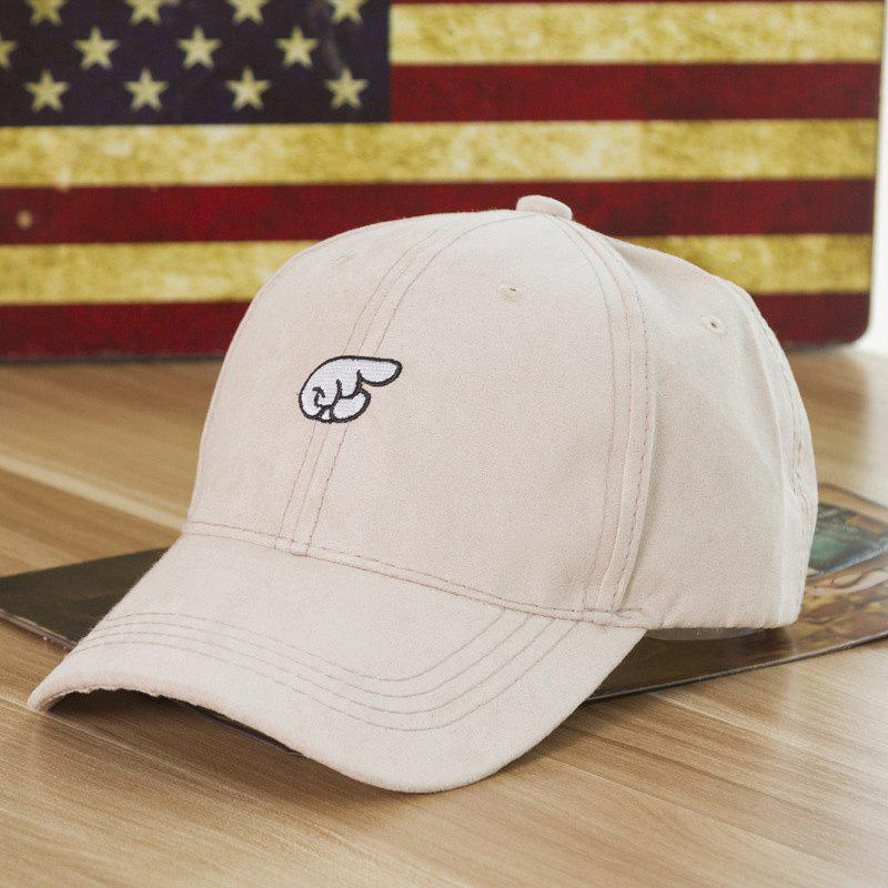Fashion Hand Embroideried Street Hipsters Suede Baseball Cap - OFF WHITE
