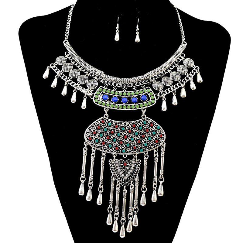 A Suit of Faux Gem Rhinestone Necklace and Earrings - SILVER