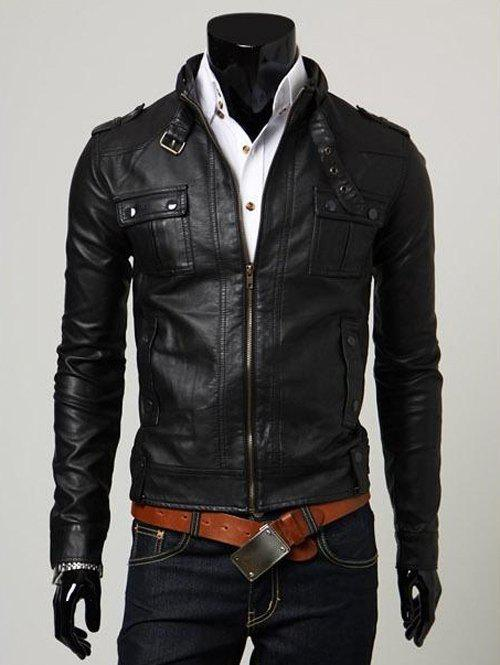 PU-Leather Belt Embellished Stand Collar Solid Color Long Sleeve Men's Jacket - BLACK XL